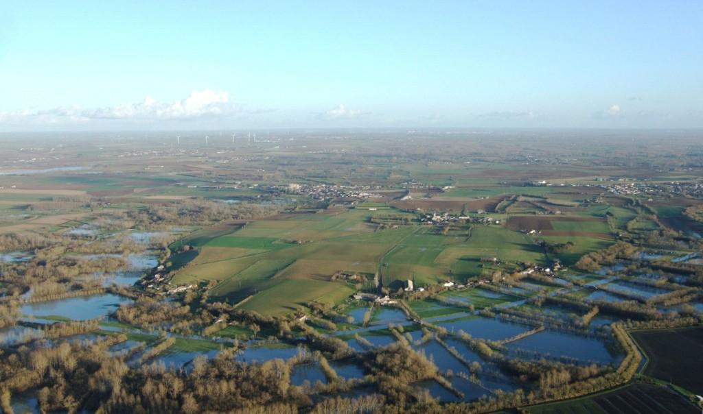 vue aérienne sur l'île de Maillezais en hiver